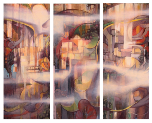 'Mystic Triptych' 2013, oil on canvas, 66in x 60in